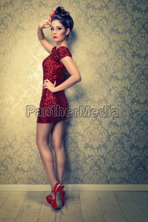 attractive brunette woman in sexy mini