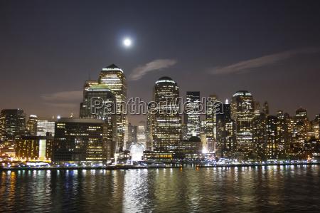 financial district at night illuminated