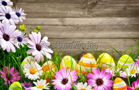 easter eggs and flowers in front