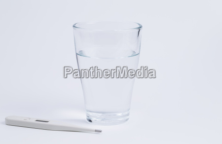 water glass and thermometer