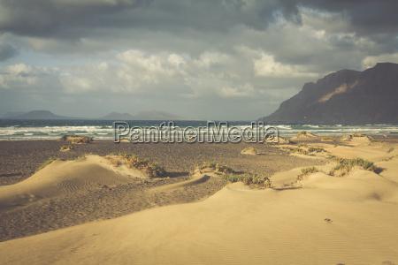 coast of famara beach lanzarote island