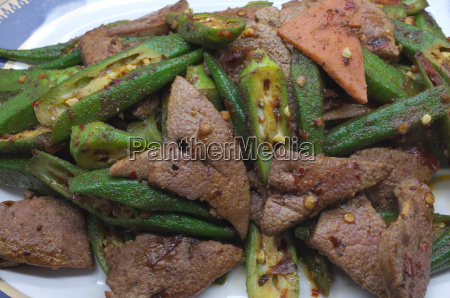 stir fried pork liver with okra