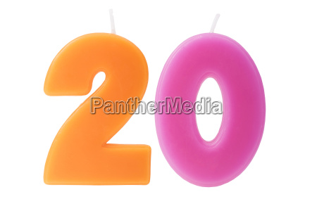 twentieth birthday candles isolated