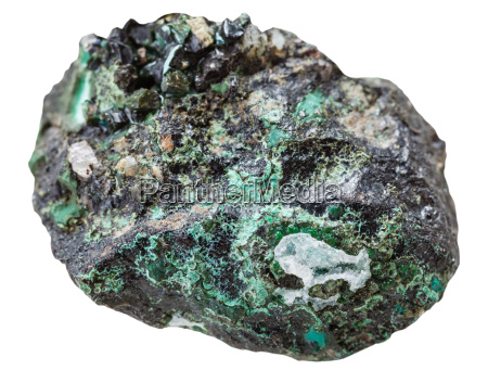 druse with malachite mineral stone isolated