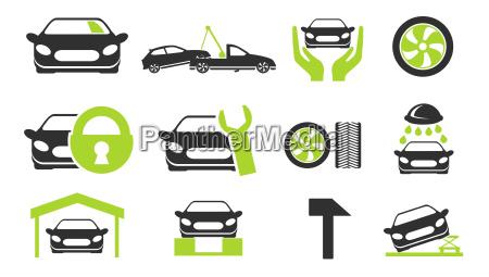 car services icon set
