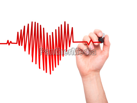 closeup of hand drawing heart beat