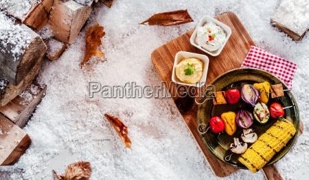 festive vegetarian winter barbecue
