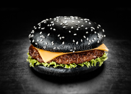 japanese black burger with cheese
