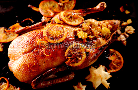 stuffed glazed roast christmas duck
