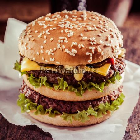delicious double cheeseburger