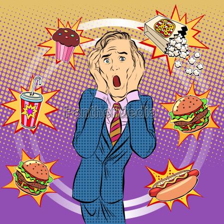 fast, food, man, unhealthy, diet, panic - 15959691