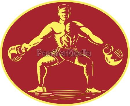 athlete lifting kettlebell oval woodcut