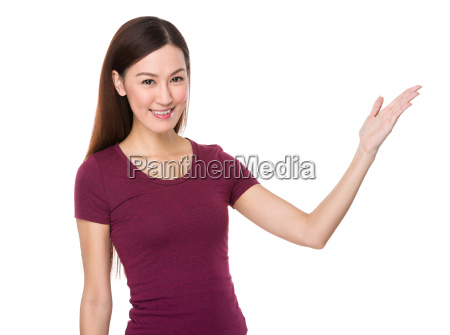 asian woman showing open hand palm