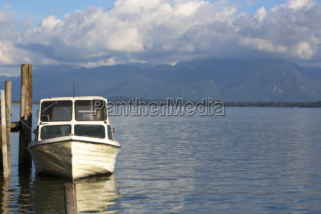 motor boat at the pier chiemsee