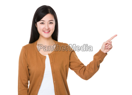 asian woman showing the finger point