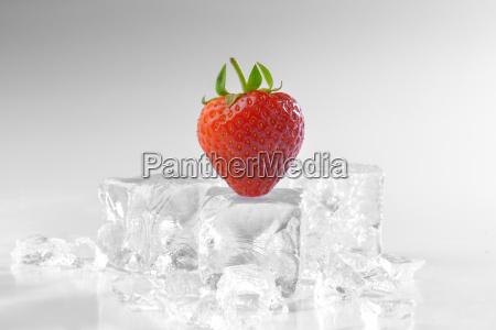 fresh strawberry on ice
