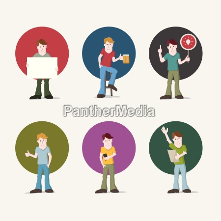 vector illustration set of young casual