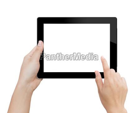 woman, hand, using, mock, up, digital - 15987877