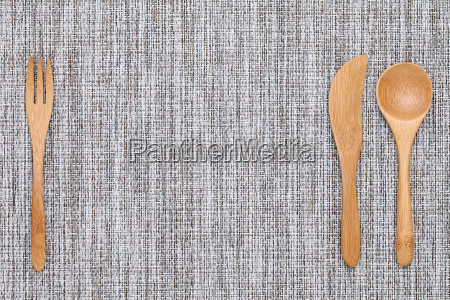 natural wooden spoon and fork knife