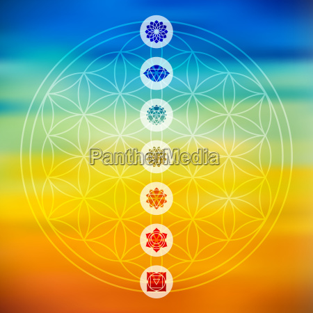 sacred geometry with chakra icons colorful