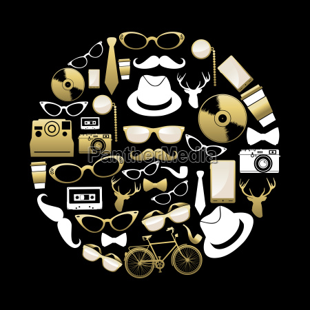 vintage hipster concept icons silhouette in