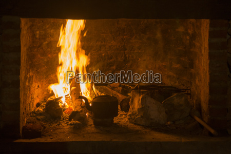 fire fireplace traditional kettle winter time