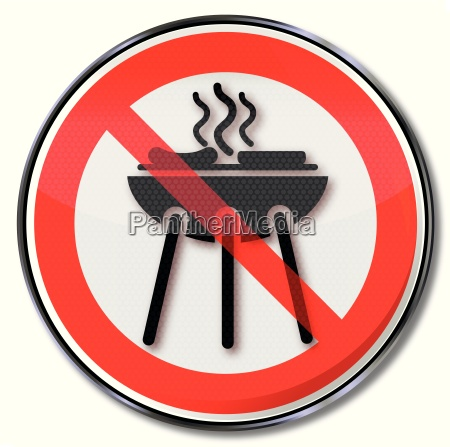 prohibition sign for a barbecue and