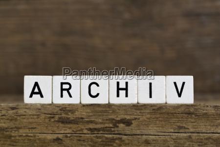 the german word archive written in