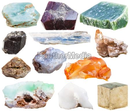 set of natural mineral crystal gemstones