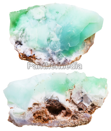 two pieces of chrysoprase crystalline gemstones