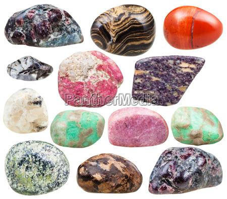 set of natural mineral tumbled gemstones
