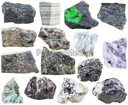 set of natural mineral rock stones