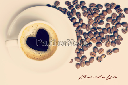 vintage cup of coffee love concept