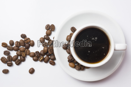 top view of coffe cup with