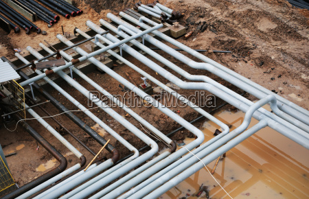 steel pipes on a newly industrial
