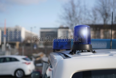 parked police car in downtown magdeburg
