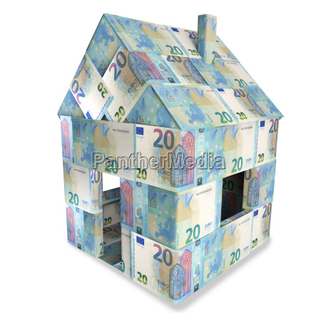 house of 20 euro bills and