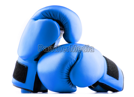 pair of blue leather boxing gloves