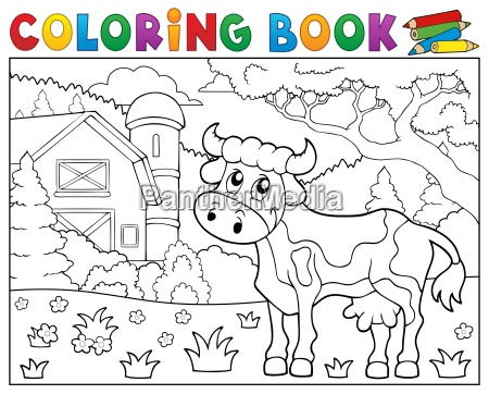 coloring book cow near farm theme