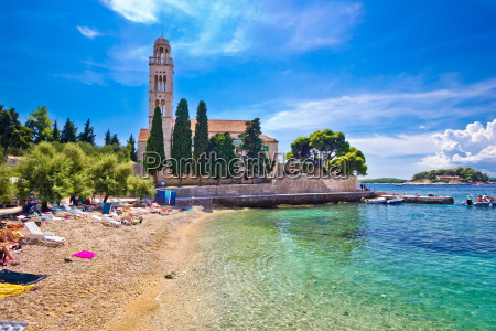 hvar island turquoise beach and stone