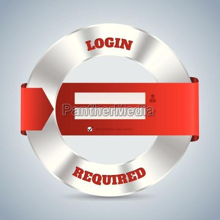 metallic login screen with red ribbon