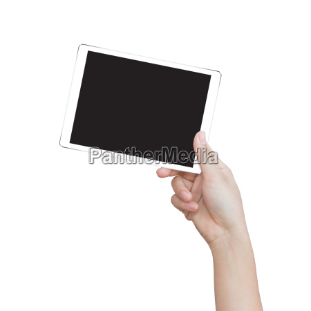 female hand holding digital tablet isolated