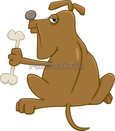 dog with bone cartoon