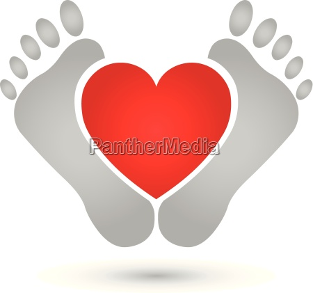 two, feet, and, heart, logo, feet - 16108247