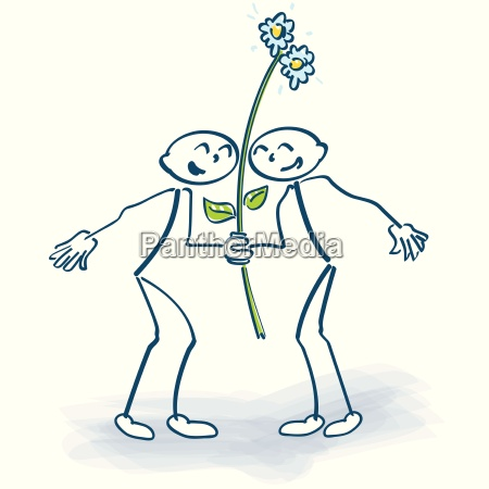 two stick figure with a flower