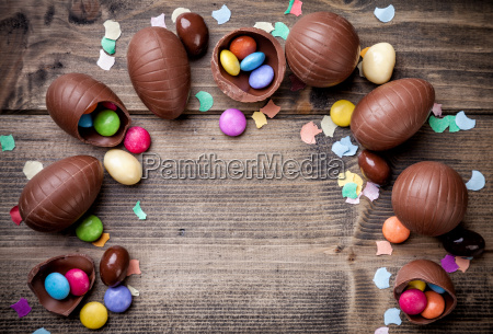 chocolate easter eggs and sweets on