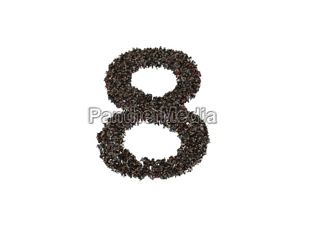 3d characters forming the number eight