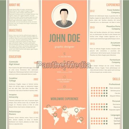 green orange white striped resume design