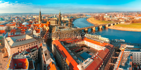 panorama of old town and elbe