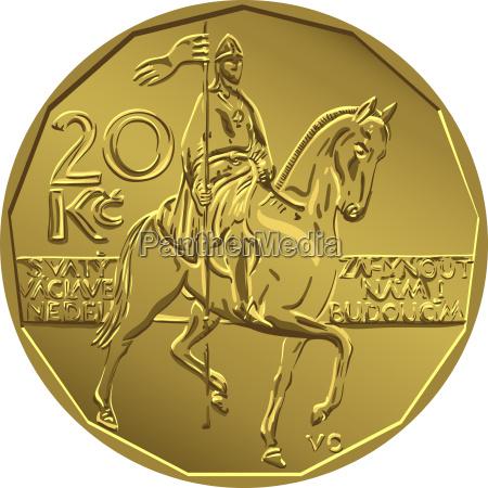 vector gold money twenty czech crones